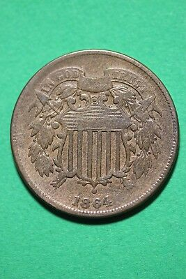 1864 Two 2 Cent Shield Coin Exact Coin Shown Flat Rate Shipping OCE143