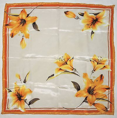 Vibrant Floral LILY Orange Brown Yellow Crepe Silk Fashion Small Scarf Bandana