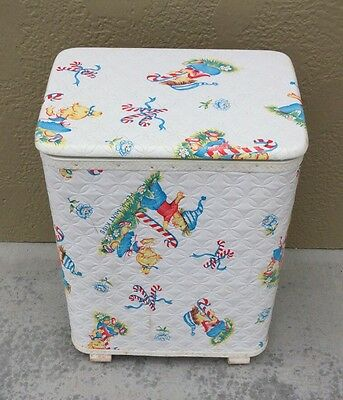 Vtg Redmon Nursery Clothes Hamper Quilted Padded Vinyl  Pep R Mint Kids Baby G1