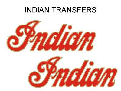 Indian Tank Transfer Decal American Motorcycle Pair D509126 Gold Red