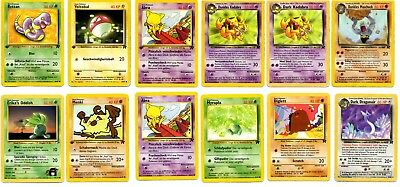 Pokemon Karten 12 Karten Sammlung Team Rocket 1 Edition Low Played / Played