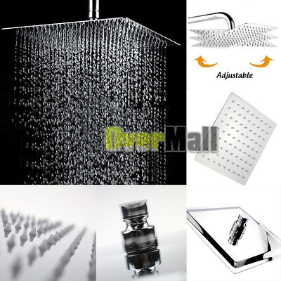 12'' Square Stainless Steel Rain Shower Head Rainfall Bathroom Top Sprayer New