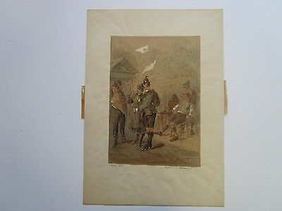 Antique Watercolor Painting And Ink 19Th - 20Th Century European Art Deco 6 Men