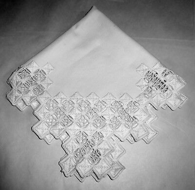 """Vintage 1950's Norway Hardanger White on White 19"""" Embroidered Table Centerpiece"""