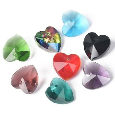 10pcs 10mm Heart Faceted Crystal Glass Pendants Loose Beads Jewelry Finding