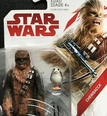 "Star Wars The Last Jedi Chewbacca Porg Bowcaster 3.75"" Figure MOC Force Link TLJ"