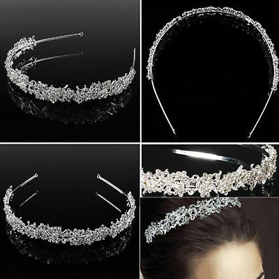 Silver Wedding Bridal Tiara Rhinestone Flower Crystal Crown Pageant Headband
