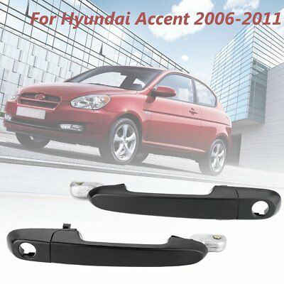 Pair Front RH LH Exterior Outside Door Handle For Hyundai Accent 2006-2011 Black