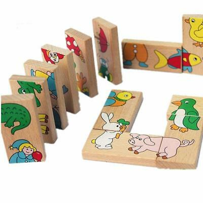 15pcs Baby Kid Child Toy Block Wooden Animal Domino Education Learning Toys LC