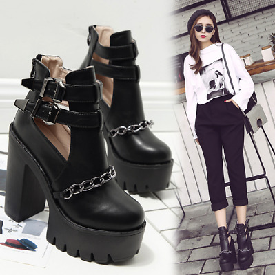6eff68ea096 Womens Chunky High Heels Hollow Chain Buckle Gothic Ankle Boots Platform  Fashion