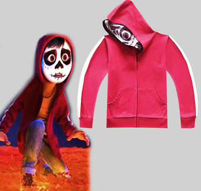 2017 Movie Coco Miguel Red Coat Jacket Kids Zipper Full Head Hoodie Sweatshirt