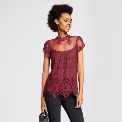 NEW Women's Embroidered Mesh Illusion Mock Neck Top - 3Hearts  (Juniors') Burg