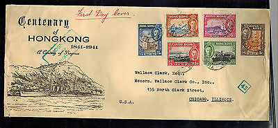 1941 Hong Kong UnCensored First Day Cover to USA Centenary British Rule 168-173