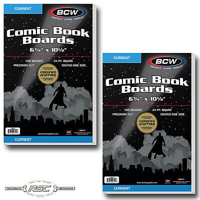 200 - BCW CURRENT / MODERN Comic Book Boards 6-3/4 x 10-1/2 - New - Acid Free!