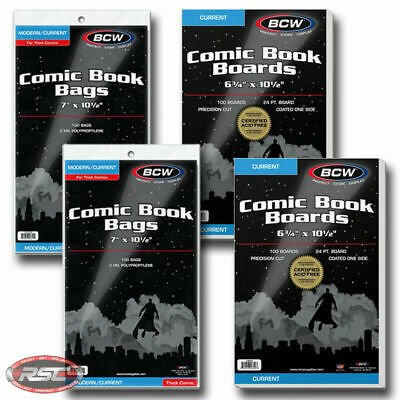 200 - BCW CURRENT Backing Boards & THICK 2-Mil Polypropylene Comic Book Bags!