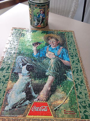 Coca Cola collector tin with jigsaw puzzle RARE sealed in original bag