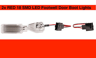 RED 2x Lamps 18 SMD LED Footwell Door Boot Lights Audi A4 8EC B7 Saloon US