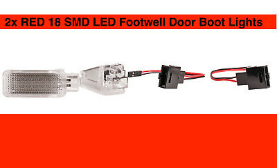 RED 2x Lamps 18 SMD LED Footwell Door Boot Lights Audi A4 8K2 B8 Saloon US