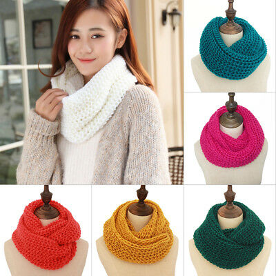 Unisex Women Winter Warm Infinity Circle Cable Knit Cowl Neck Long Scarf Shawl