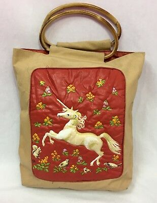 Vintage Heirloom Designs Canvas Unicorn Purse with Bamboo Handles