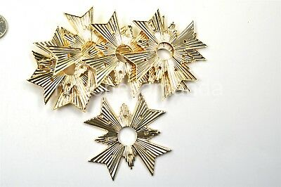 5 Vintage USA Made Large Gold Plated Brass Star Stampings 65mm -V1154