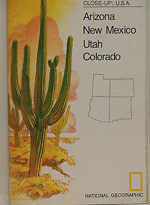 Vintage 1977 National Geographic Map of Arizona New Mexico Utah and Colorado