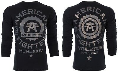AMERICAN FIGHTER Mens LS T-Shirt MARLYAND Athletic BLACK Biker Gym MMA UFC $54