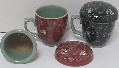 2 Tea Containers (Porcelain Mug Cup w/ Handle and filters) Asian Korean Korea