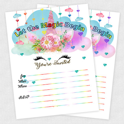 20 unicorn invitations girl birthday invitation baby shower girls