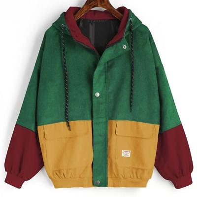 Women's Corduroy Patchwork Jacket Fall Winter Windbreaker Coat Overcoat Outwear
