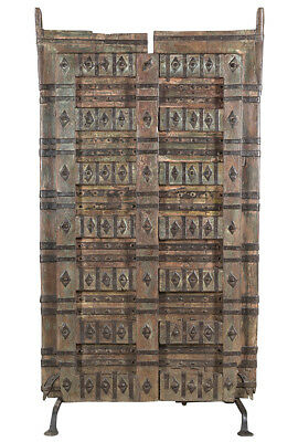 Stunning Carved  Hand Painted Antique Wood  Doors on Iron Stand,47'' x 87''H.