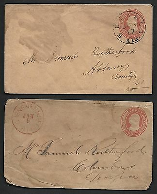 """US 1850's PRE CIVIL WAR ALABAMA POSTAL HISTORY COVER """"CHUNENUGGE"""" IN RED AND"""