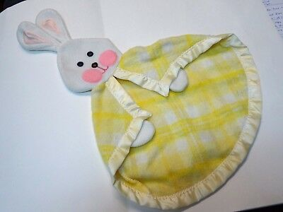 RARE Vintage Fisher Price #441 1979 Yellow Plaid Security Bunny Blanket*Adorable