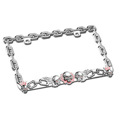 PINK FLOWER CHROME Coating Metal License Plate Frame Auto Car Truck ...