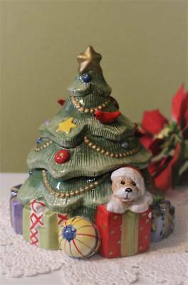 Christmas Tree Fitz and Floyd For All Seasons Ornaments Teddy Bear Candle Jar