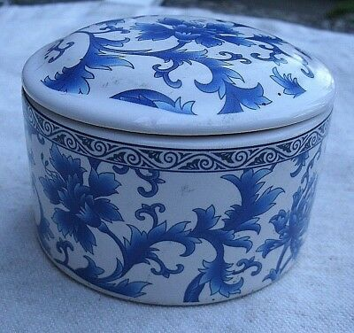Victorian Style Round Trinket Box,white porcelain,blue floral design -flowers