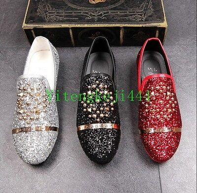 97b7ee5a1d4 Mens Round Toe Sequins Punk Spike Studded Loafers Slip On Dress Shoes Pump  New Y