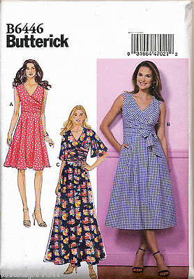 Butterick Sewing Pattern 6446 Misses 14-22 Pleated Or Flared Wrap Dresses & Maxi