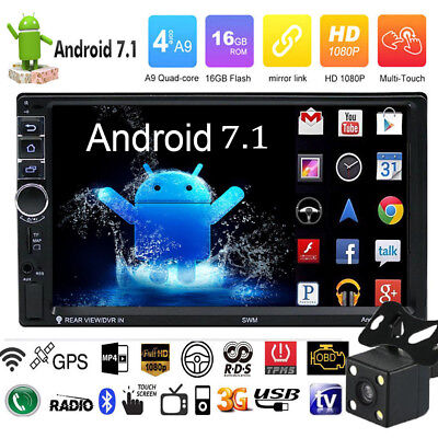 Quad Core 2DIN 7'' Android 7.0 Car GPS Navi WiFi 1080P MP5 Player BT AM FM Radio