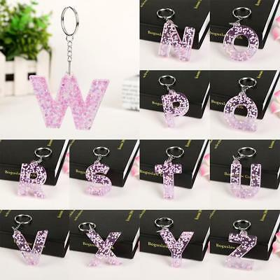 Pretty 1Pc Keyring 26 English Word Letter Keychain Glitter Resin for Woman LE