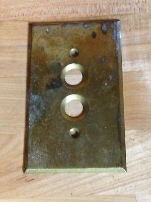 Antique Vintage Brass .040 Push Button Light Switch Plate Part