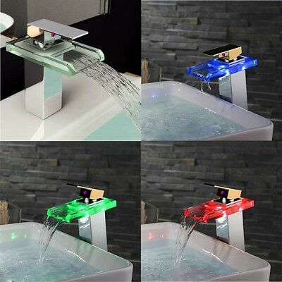 LED Glass Brass Finish Waterfall Faucet Single Handle Tub Sink Basin Mixer Tap