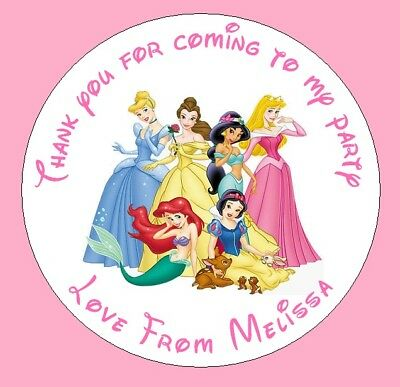 24 x Personalised Disney Princess Birthday Party Bag Stickers Sweet Cone Gift