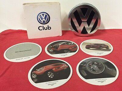 2004 VW CLUB Volkwagen Coasters In Tin Advertising Automobile Car Logo Lot of 5