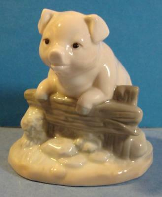Cute Porcelain Pig Looking Over Fence Figurine