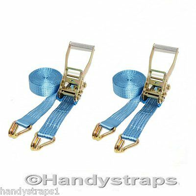 2 X 4 meter x 50mm Blue Ratchet Tie Down Straps  5 tons Lorry Lashing
