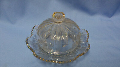 Vintage Clear Pressed Glass Domed Butter Dish With Gold Trim