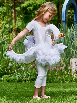 Girls White Glide On Swan Pretty Tutu Animal Fancy Dress Costume Outfit 3-8yrs