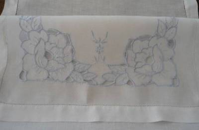 Vintage White Linen Table Runner Blue Cutwork Embroidery Hemstitch 40""