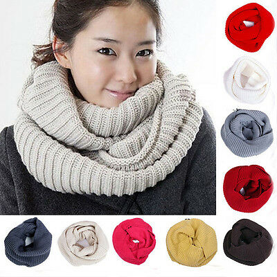 Soft Women Winter Warm Infinity Cable Knit Cowl Neck Long Scarf Shawl Charm GIFT